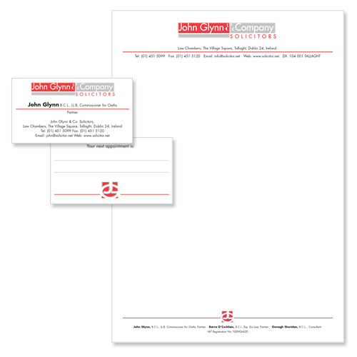 glynn solicitors stationery design sample
